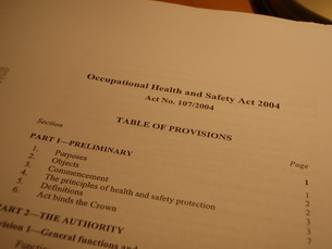 Front cover / title of the Occupational Health and Safety Act 2004